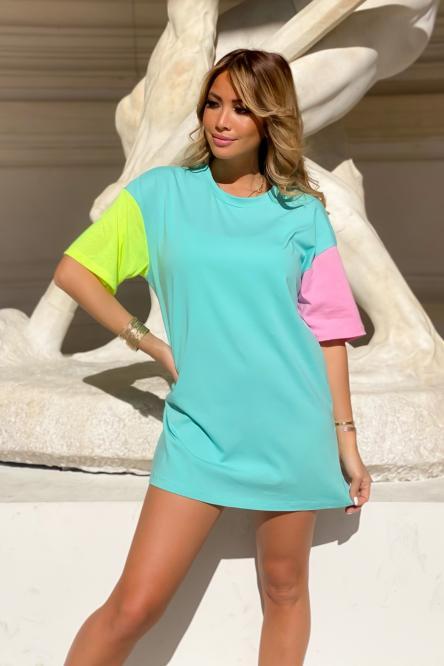 Robe T-Shirt Femme Tricolore Vert Clair / Réf : 7968-17