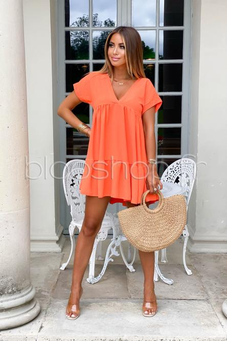 Robe V Large Femme Orange