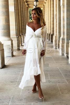 Robe Volant Croisée Femme Blanc / Réf : 412