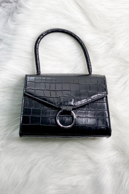 Sac Femme Effet Croco Noir / Réf : EL1032-0
