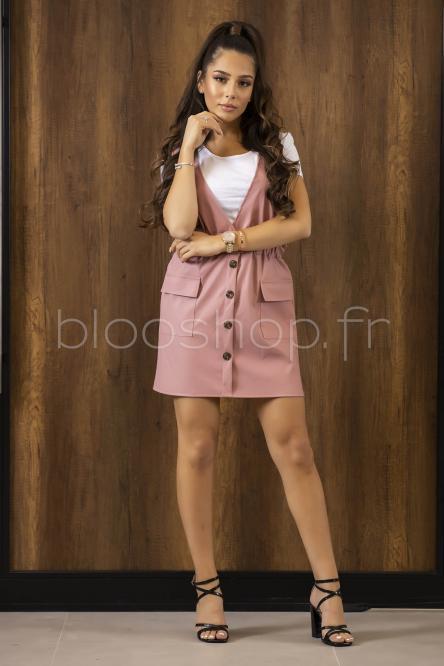 Salopette Jupe Femme + Tee-shirt Rose / Réf : 696