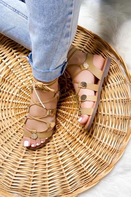 Sandales Femme à Lacets Beige / Réf : 7827-2