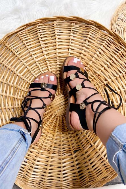 Sandales Femme à Lacets Noir / Réf : 7827-0