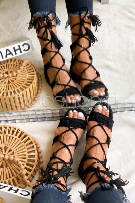 Sandales Femme à Lanières Noir / Réf : FB172