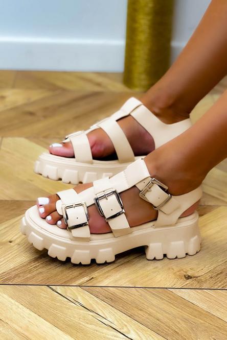 Sandales Femme à Sangles Beige / Réf : 3944-2