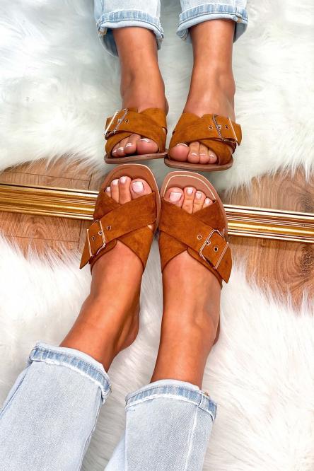 Sandales Femme à Sangles Camel / Réf : HY875-8