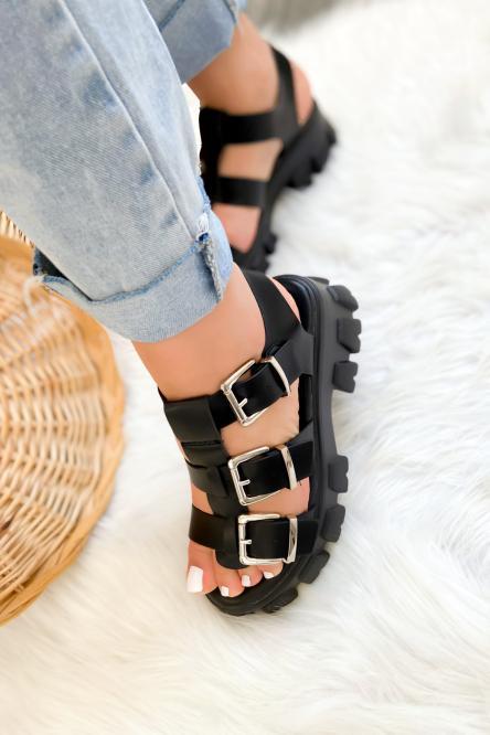 Sandales Femme à Sangles Noir / Réf : 3944-0