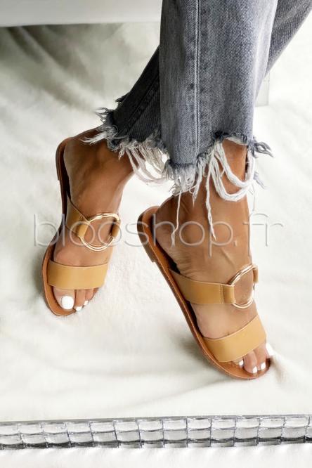 Sandales Femme Anneau Camel / Réf : 3462