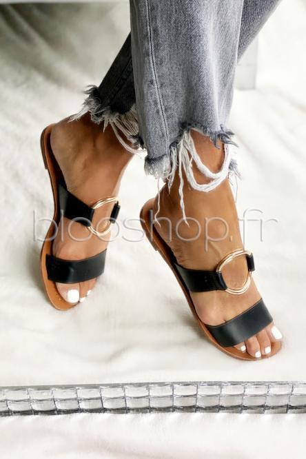 Sandales Femme Anneau Noir / Réf : 3462