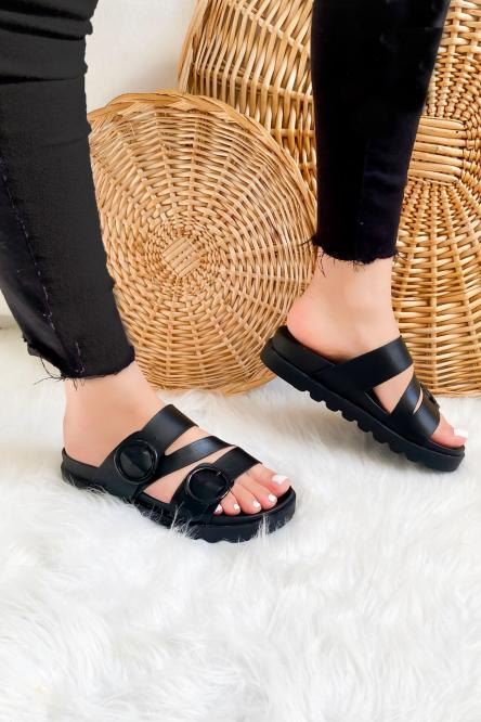 Sandales Femme Boucles Noir / Réf : GLV013-0