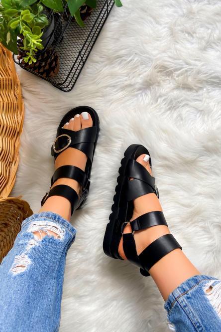 Sandales Femme Boucles Noir / Réf : GLV015-0