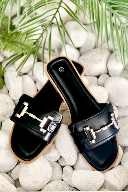 Sandales Femme Boucles Noir / Réf : YU193-0