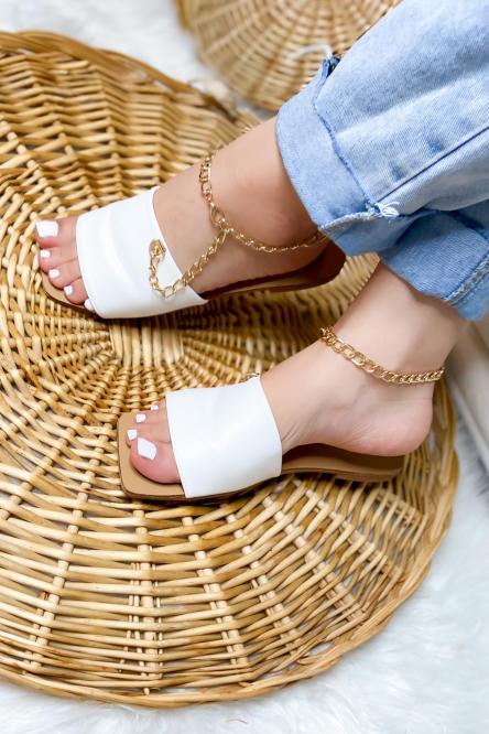 Sandales Femme Chaînes Bout Carré Blanc / Réf : B579-1