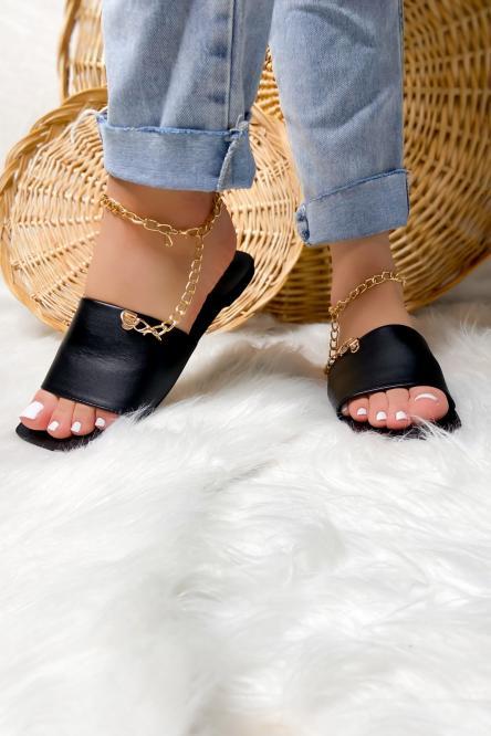Sandales Femme Chaînes Bout Carré Noir / Réf : B579-0