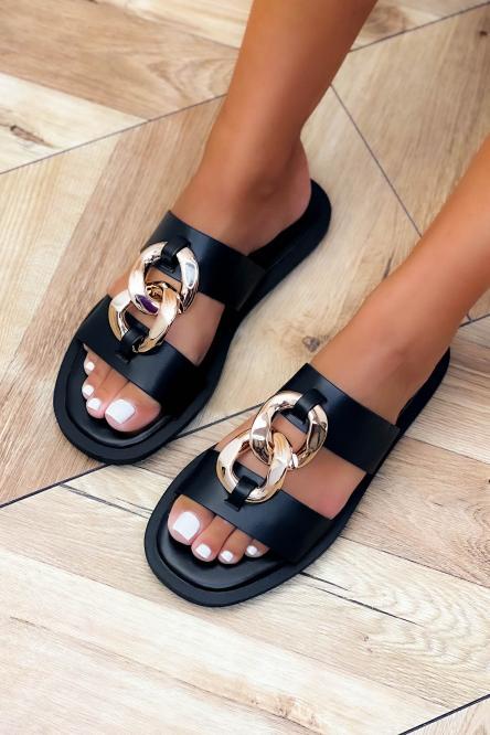 Sandales Femme Chaînes Double Noir / Réf : B615A-0