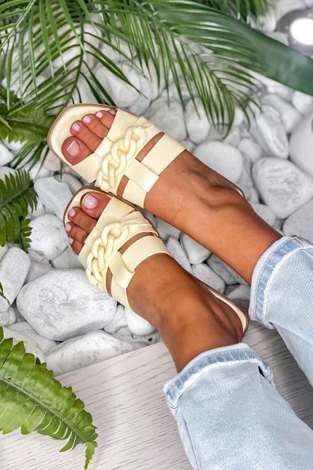 Sandales Femme Chaînes Jaune / Réf : QQ352-14