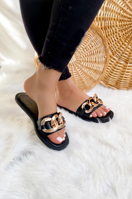 Sandales Femme Chaînes Noir / Réf : AB616-0