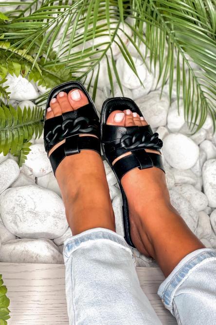 Sandales Femme Chaînes Noir / Réf : QQ352-0