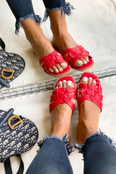 Sandales Femme Colorées Rouge / Réf : YU175