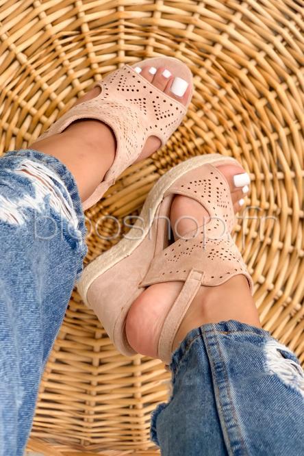 Sandales Femme Compensées Macramées Beige / Réf : TH637