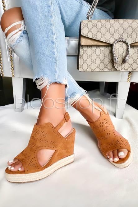 Sandales Femme Compensées Macramées Camel / Réf : TH637