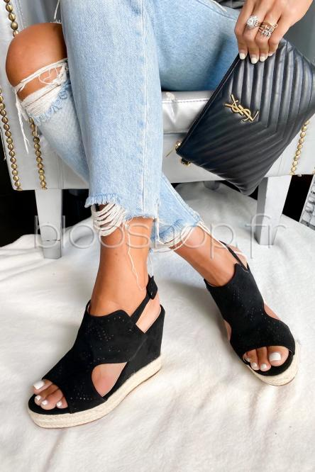 Sandales Femme Compensées Macramées Noir / Réf : TH637