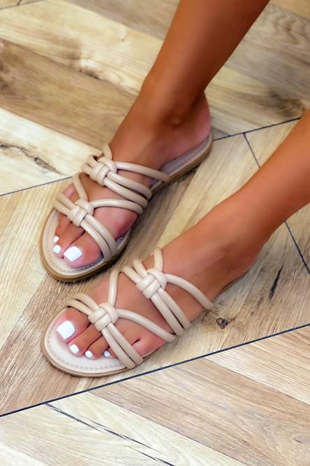 Sandales Femme Cordons Beige / Réf : NN106-2