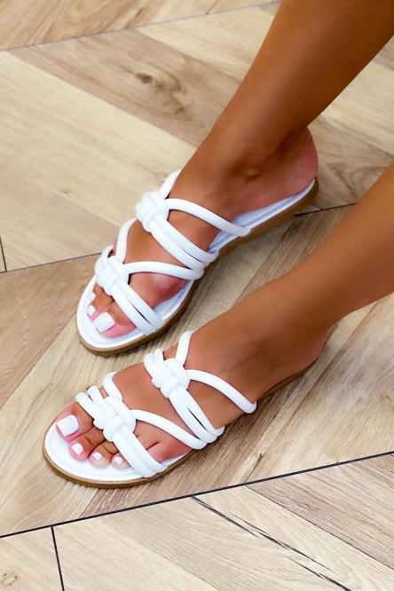 Sandales Femme Cordons Blanc / Réf : NN106-1