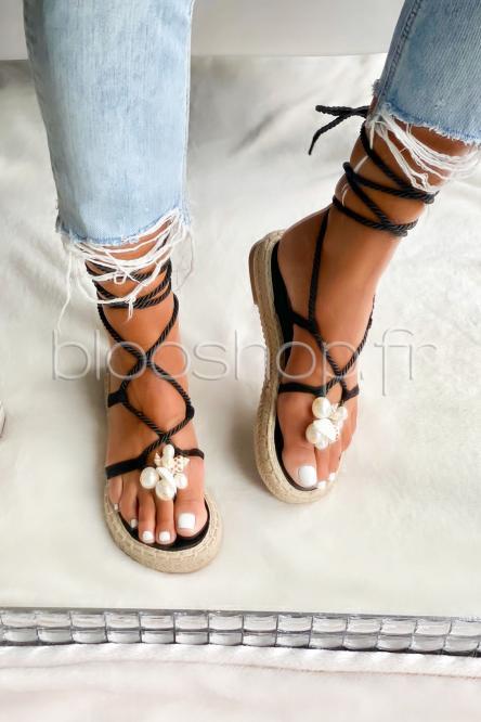 Sandales Femme Cordons Noir / Réf : L08-228