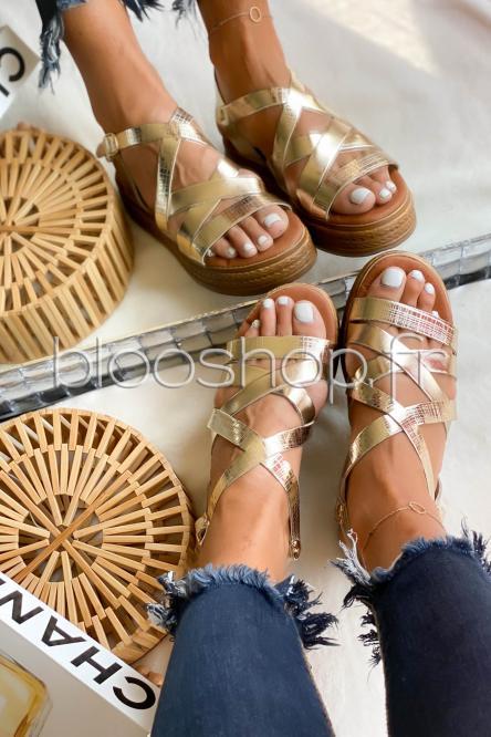 Sandales Femme Croisée à Plateforme Gold / Réf : GK-060