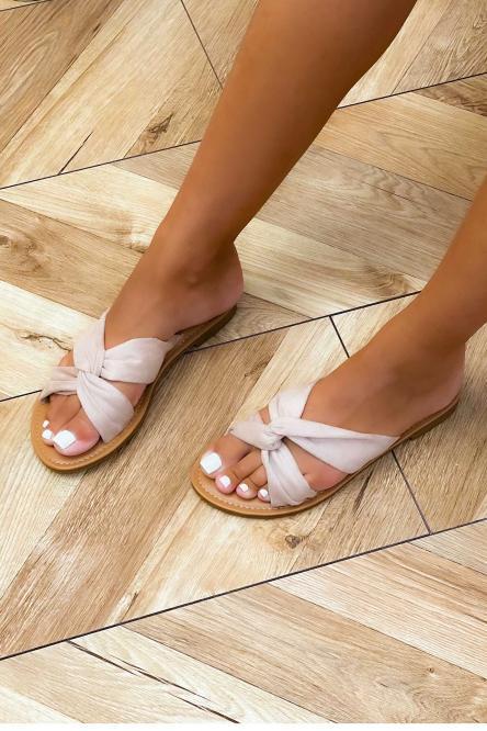 Sandales Femme Croisée Velours Beige / Réf : T51-2