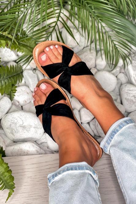 Sandales Femme Croisée Velours Noir / Réf : T51-0