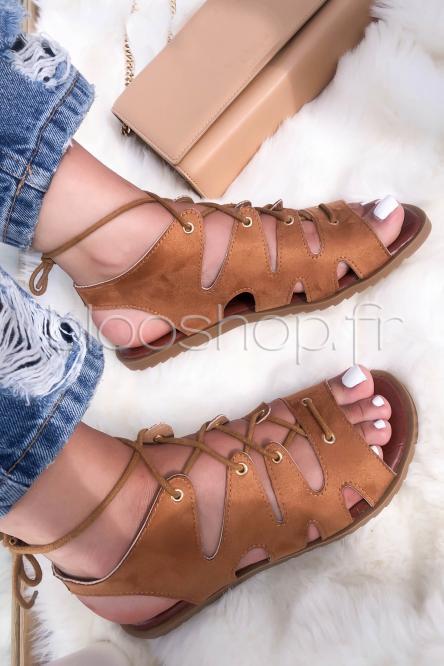 Sandales Femme Croisées à Lacets Camel / Réf : LL003
