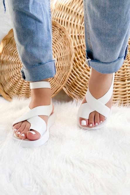 Sandales Femme Croisées Blanc / Réf : NN130-1