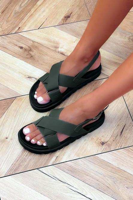 Sandales Femme Croisées Kaki / Réf : GLV012-3