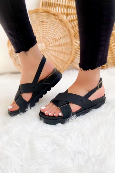Sandales Femme Croisées Noir / Réf : GLV012-0