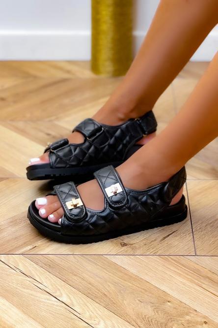 Sandales Femme Matelassées Scratch Noir / Réf : JU1558-0