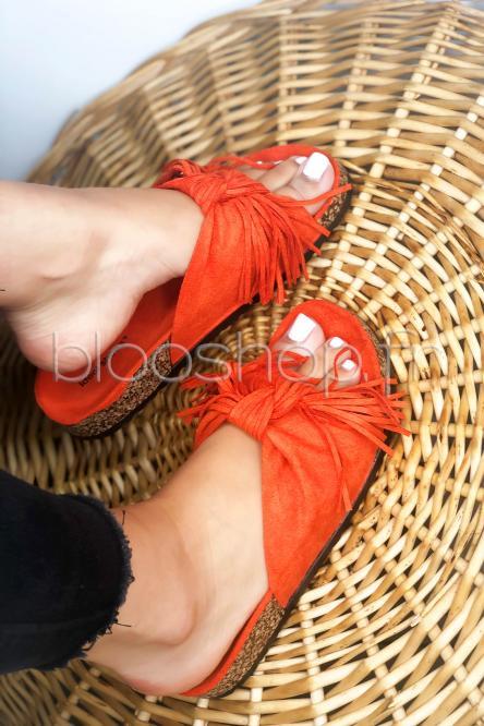Sandales Femme Noeud à Franges Orange / Réf : 1079