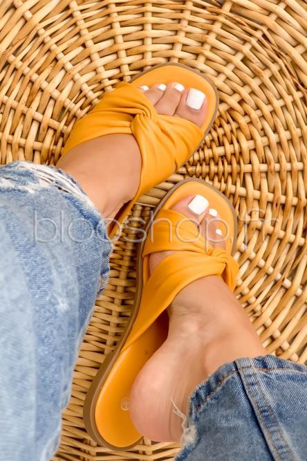 Sandales Femme Nouées Jaune / Réf : T25
