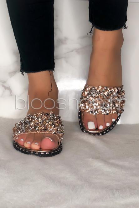 Sandales Femme Perles Champagne