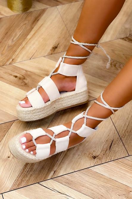 Sandales Femme Plateforme Beige / Réf : 6629