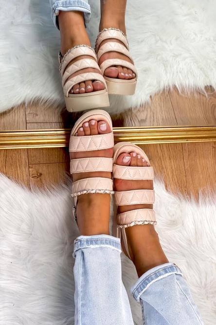 Sandales Femme Plateforme Beige / Réf : FB206-2
