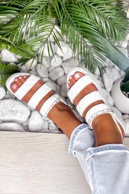 Sandales Femme Plateforme Blanc / Réf : FB206-1
