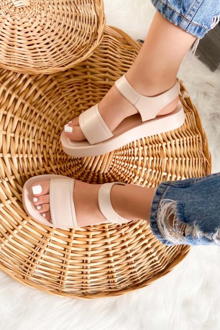 Sandales Femme Plateforme Crème / Réf : 7839-24