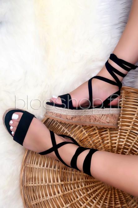 Sandales Femme Plateformes à Lanières Noir / Réf : ST-18