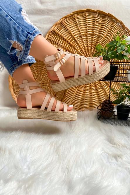Sandales Femme Plateformes Beige / Réf : NN155-2