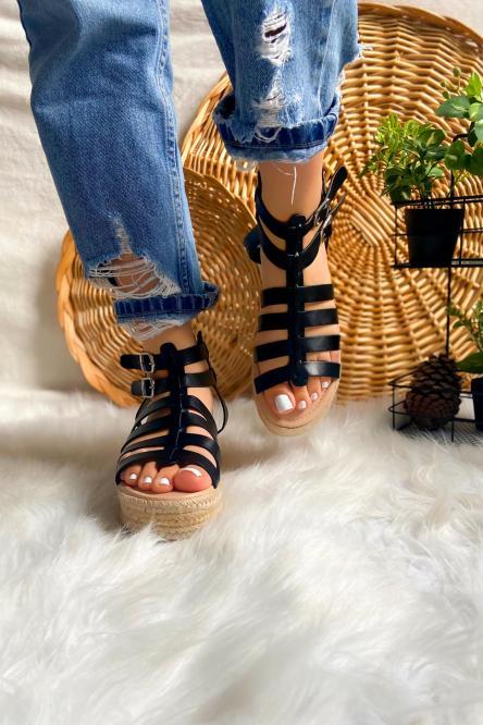 Sandales Femme Plateformes Noir / Réf : NN155-0