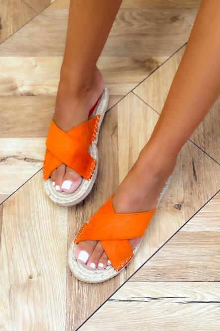 Sandales Femme Suédine Croisées Orange / Réf : 5137