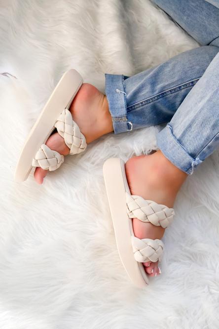 Sandales Femme Tresses Plateforme Beige / Réf : LS205-2