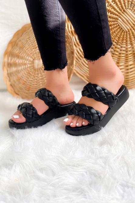 Sandales Femme Tresses Plateforme Noir / Réf : LS205-0